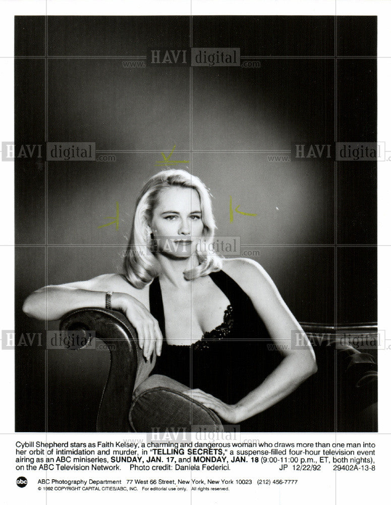 1992 Press Photo Cybill Shepherd, ABC, miniseries - Historic Images