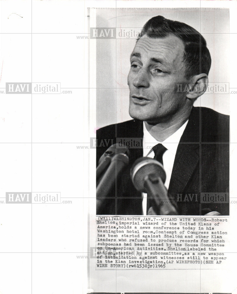 1965 Press Photo Robert Shelton, Imperial Wizard, KKK - Historic Images