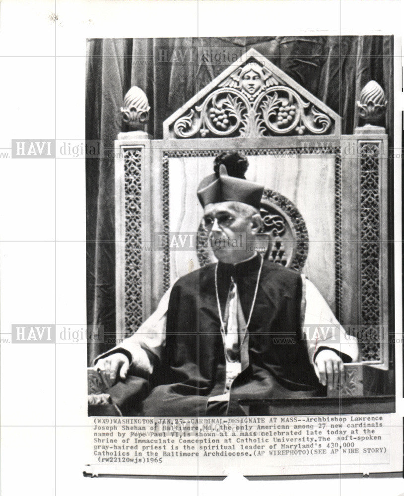 1965 Press Photo Lawrence Joseph Shehan Archbishop Mass - Historic Images