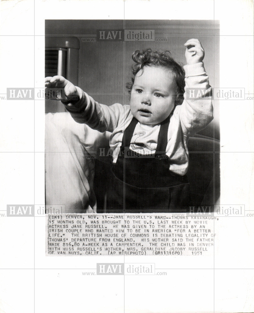 1951 Press Photo JANE RUSSELL'S IRISH WARD - Historic Images