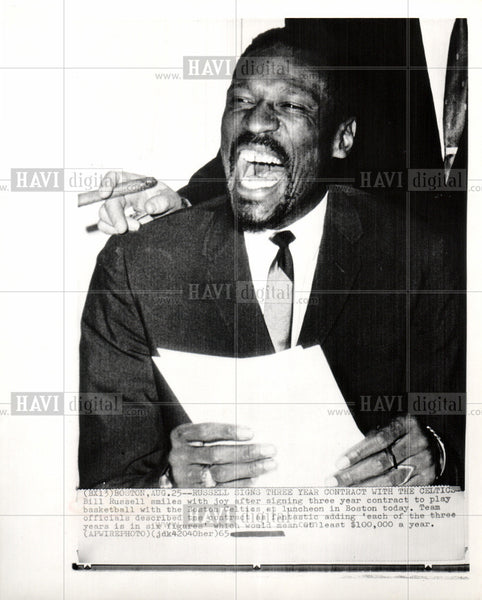 1965 Press Photo Bill Russell basketball Celtics - Historic Images