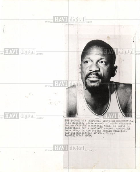1969 Press Photo Bill Russell Celtics player coach NBA - Historic Images