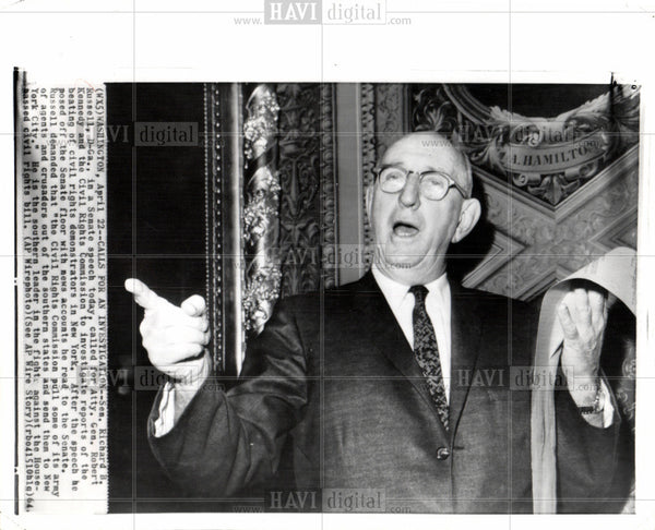 1964 Press Photo Senator Richard D Russell civil rights - Historic Images