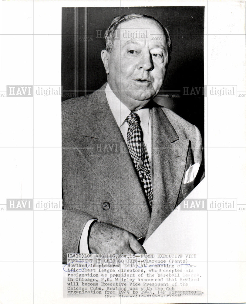 1954 Press Photo Clarence Rowland Exec VP Chicago Cubs - Historic Images