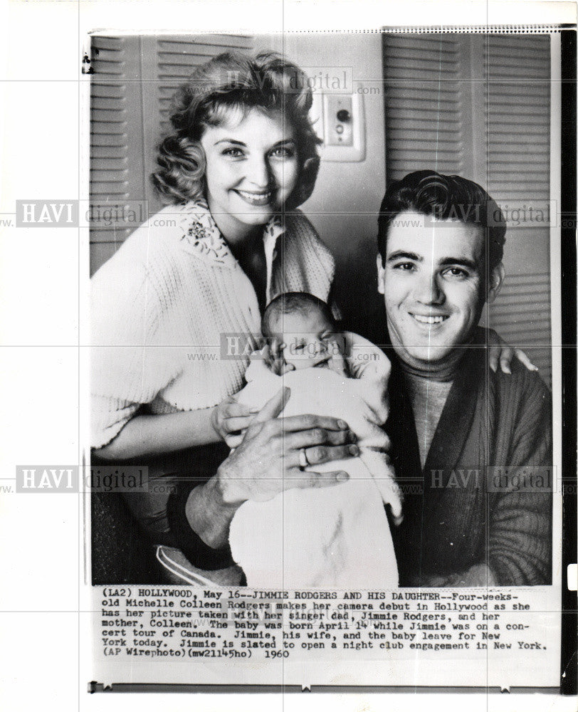 1960 Press Photo Jimmie Rodgers,baby,daughter,musician - Historic Images