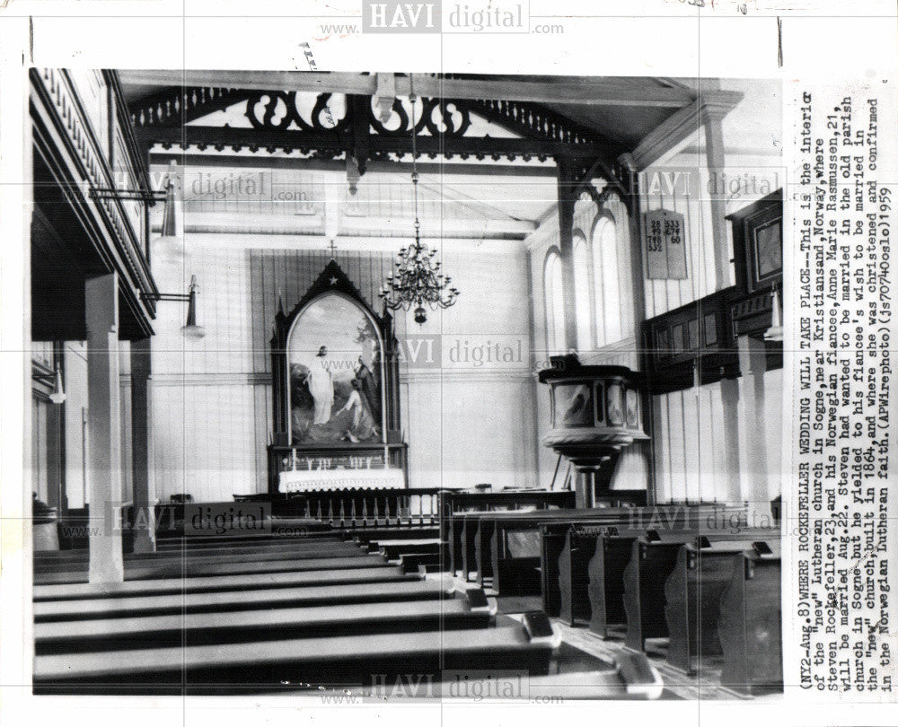 1959 Press Photo Steven Rockefeller wedding church - Historic Images
