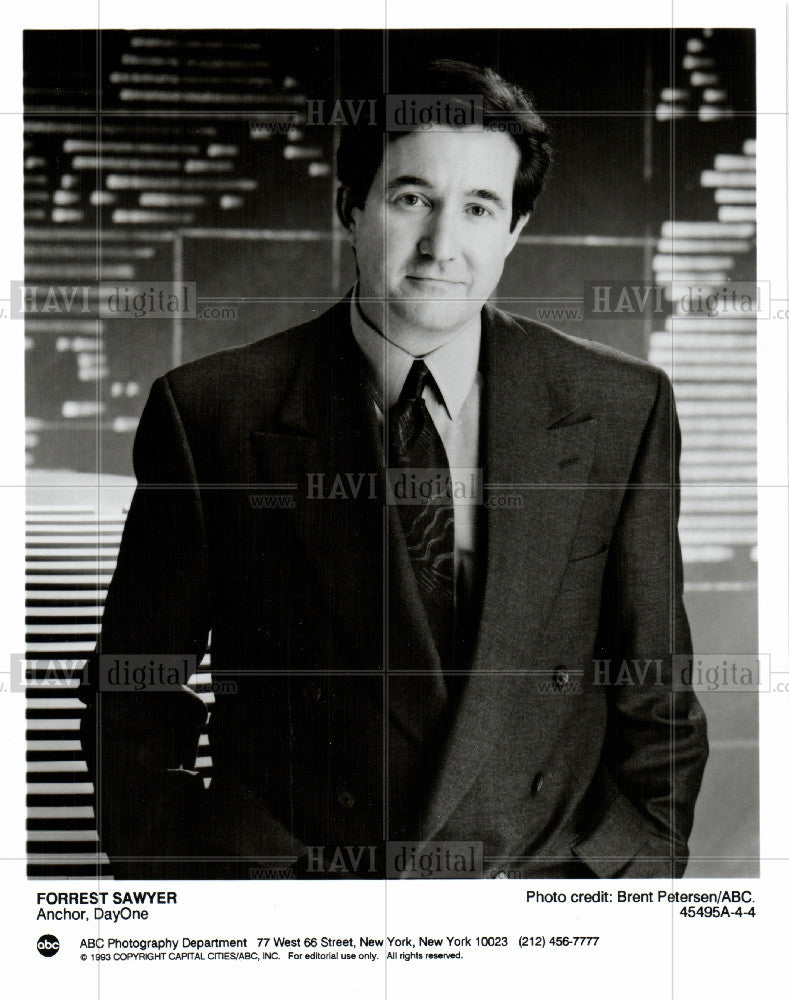 Press Photo Forrest Sawyer journalist ABCworldnews - Historic Images