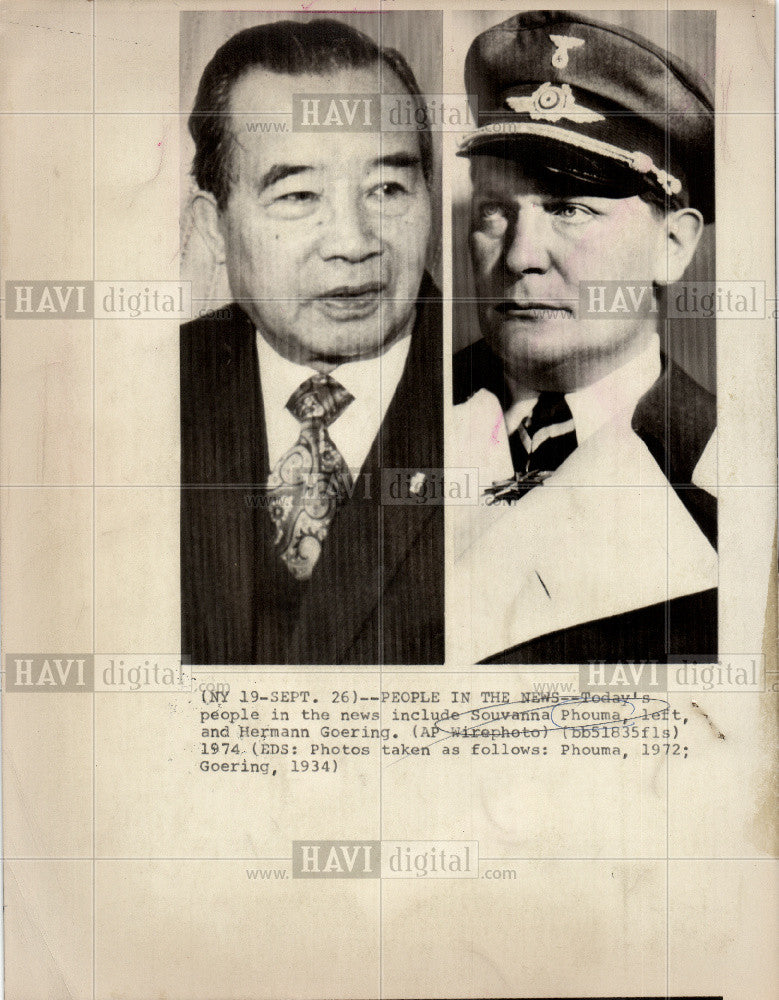 1974 Press Photo Souvanna Phouma, Hermann Goering - Historic Images
