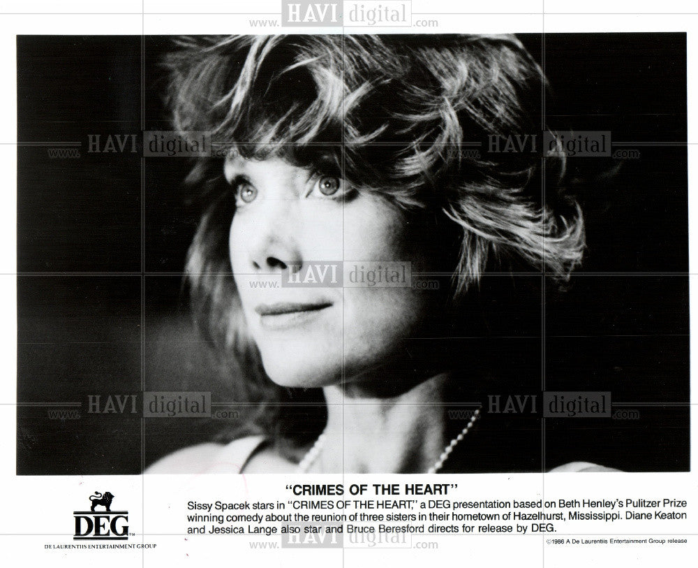 1986 Press Photo Sissy Spacek Actor Crimes Of The Heart - Historic Images