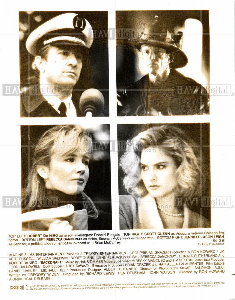 1991 Press Photo Robert DeNiro Backdraft movie actor - Historic Images