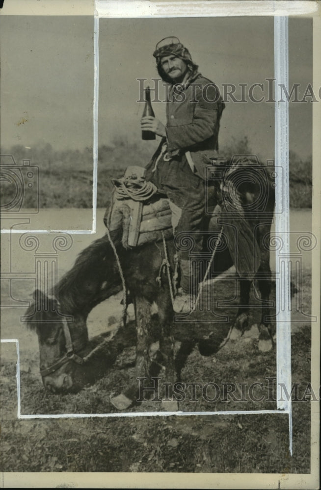 1927 Press Photo Donkey & master on a donkey in Tirana, Albania - mja05091 - Historic Images
