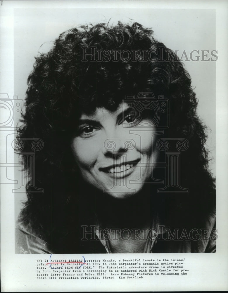 "1984 Press Photo Adrienne Barbeau portrays Maggie in ""Escape from New York"" - Historic Images"