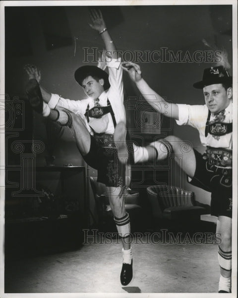 "1960 Press Photo Barbarian dance group, dance the ""Jolly Woodchopper"" - Historic Images"