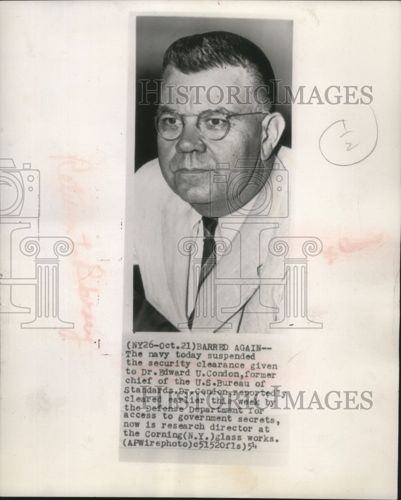 1954 Press Photo the navy suspended security clearance to Dr. Edward U. Condon - Historic Images