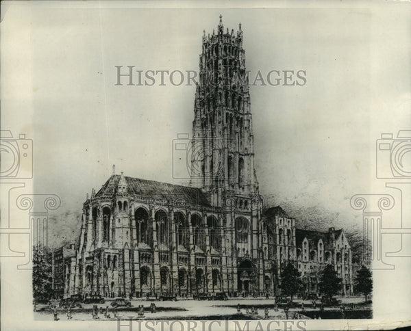 1928 Press Photo Architectural Drawing of Rockefeller's Church - mja83490 - Historic Images