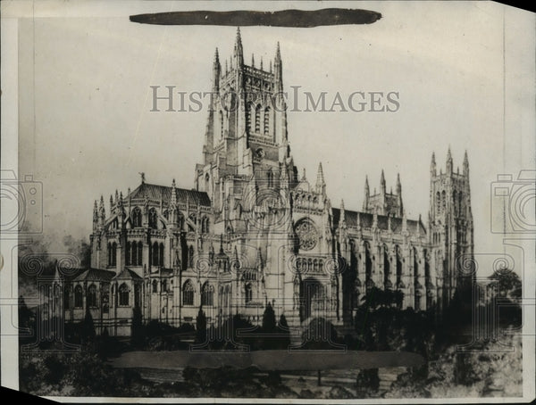 1927 Press Photo Final Design of Cathedral of Saint John The Divine - mja83495 - Historic Images