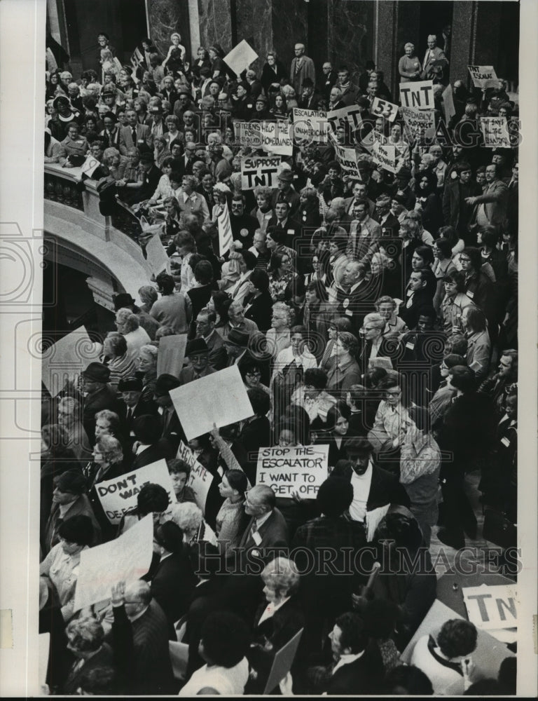 1974 Press Photo Demonstrators at the State Capitol in Wisconsin - mja94690 - Historic Images