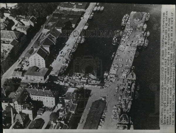 1940 Press Photo Aerial view of the free port in Copenhagen, Denmark - mja95160 - Historic Images