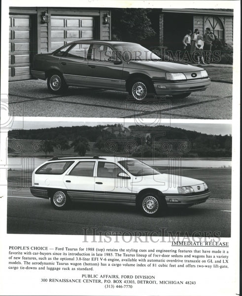 1988 Press Photo Ford Taurus People's Choice - Historic Images