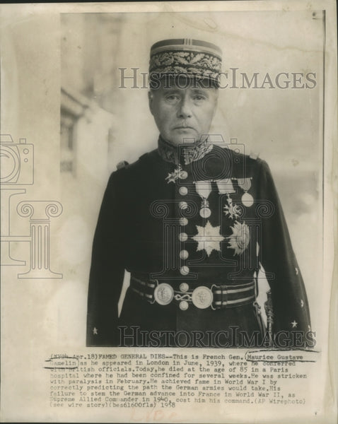1939 Press Photo French General Maurice Gustave Gamelin in London, England - Historic Images