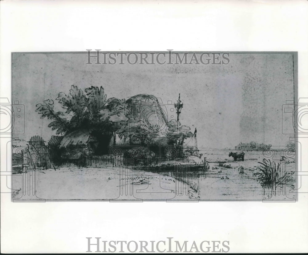 "1963 Press Photo ""A Farmstead Beside a Stream"" by Rembrandt Van Rijn - mjb37593 - Historic Images"