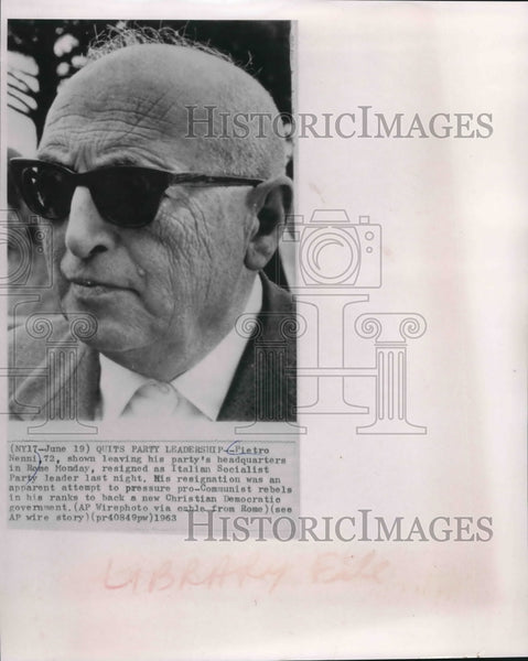 1963 Press Photo Pietro Nenni Former Italian Socialist Party Leader Rome, Italy - Historic Images