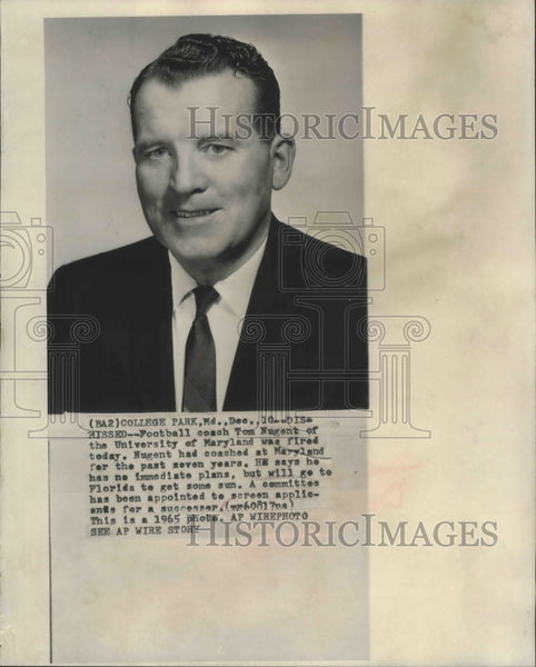 1965 Press Photo Football coach Tom Nugent of University of Maryland was fired - Historic Images