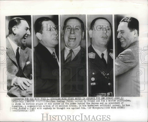 1955 Press Photo Master Politician, Juan Domingo Peron, President of Argentina - Historic Images