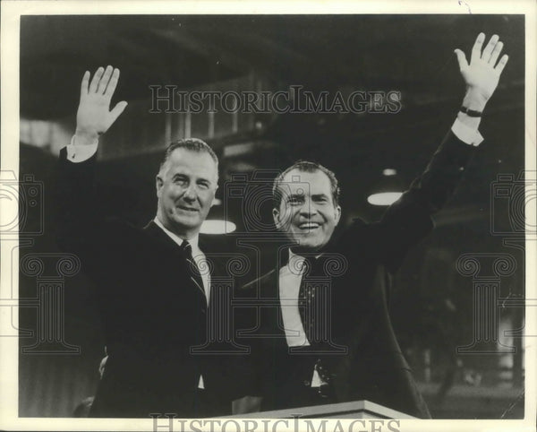 1968 Press Photo Richard Nixon and Spiro Agnew win Republican nomination Miami - Historic Images