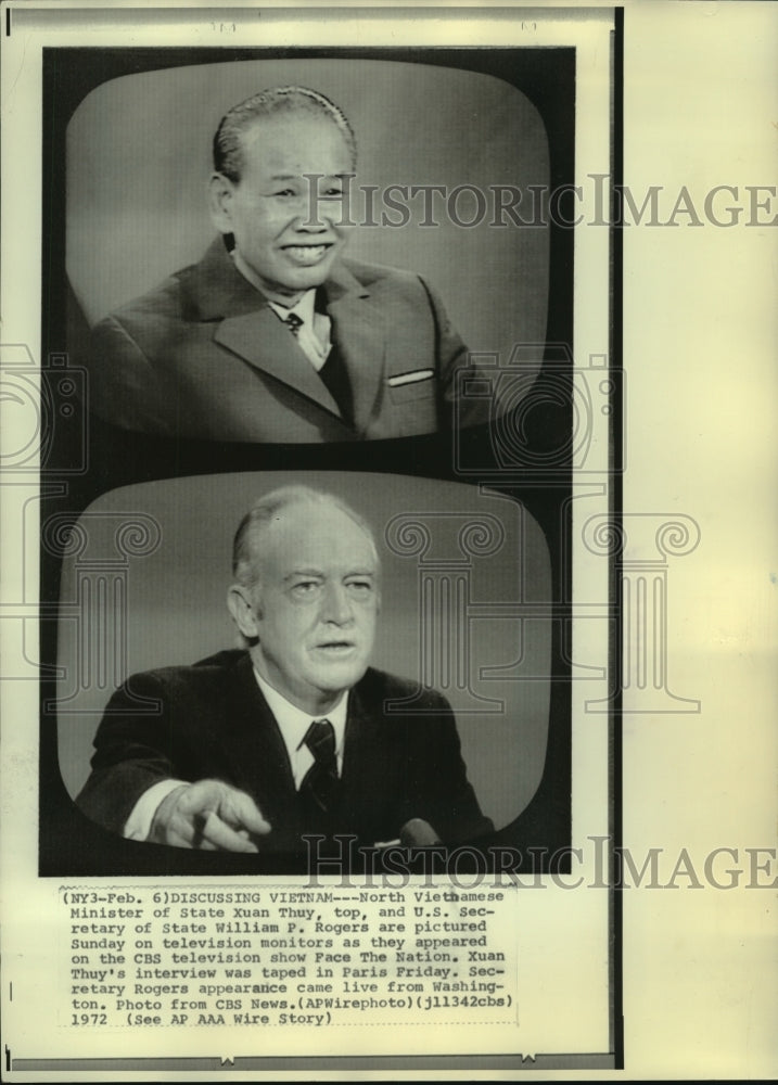 1972 Press Photo CBS TV show 'Face the Nation' guests Xuan Thuy & Will Rogers - Historic Images