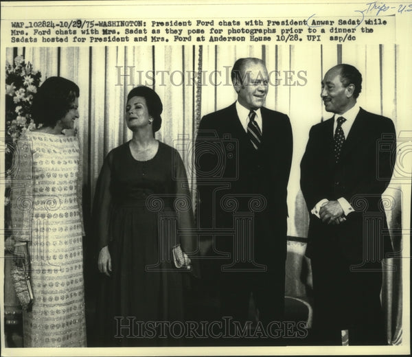 1975 Press Photo President Ford and wife and Anwar Sadat and wife, Washington. - Historic Images