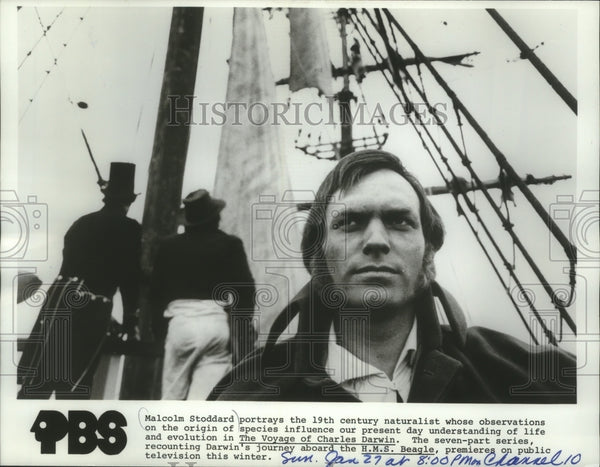1980 Press Photo Malcolm Stoddard in The Voyage of Charles Darwin - Historic Images