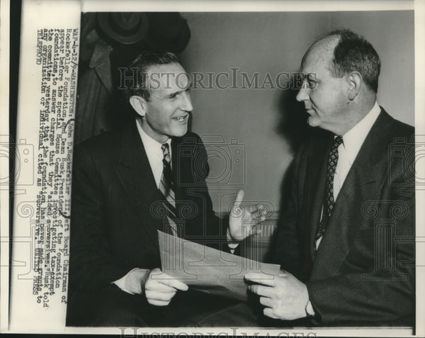 1950 Press Photo John Rockefeller And Dean Rusk At House Comittee In Washington - Historic Images