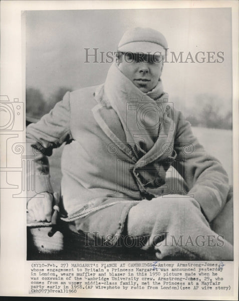 1950 Press Photo Antony Armstrong-Jones, coxswain of Cambridge University crew - Historic Images