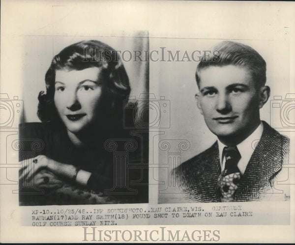 1948 Press Photo Gertrude Bauman and Ray Smith found shot to death Eau Claire - Historic Images