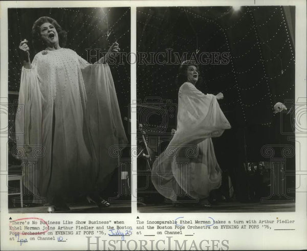 "1976 Press Photo Broadway Star Ethel Merman Performing on ""Evening at Pops '76"" - Historic Images"