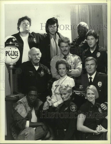 "1985 Press Photo Actor Adam West & cast of ""The Last Precinct"" - mjc29640 - Historic Images"