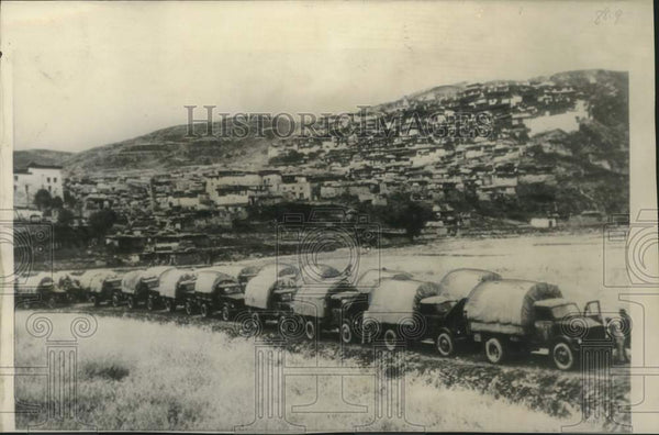 1950 Press Photo Chinese Communist supply trucks during invasion of Tibet - Historic Images