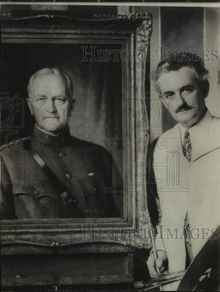 1938 Artist John Doctoroff with Portrait of Gen. John J. Pershing - Historic Images