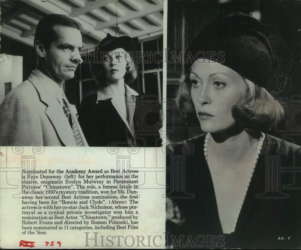 "1975 Press Photo Actors Faye Dunaway and Jack Nicholson in ""Chinatown"" - Historic Images"