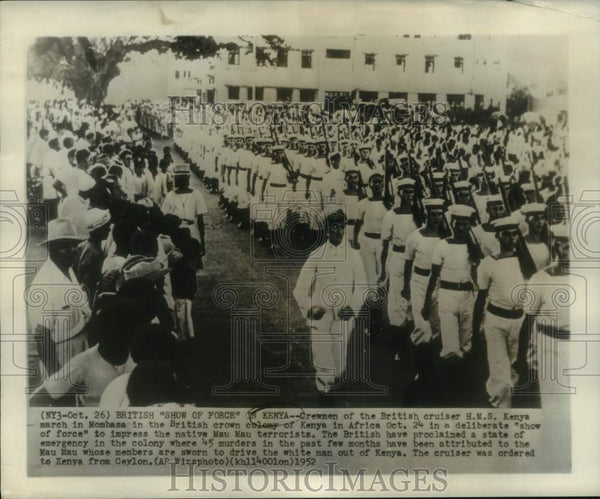 "1952 Press Photo H.M.S. Kenya crewmen March in ""show of force"" in Mombasa, Kenya - Historic Images"