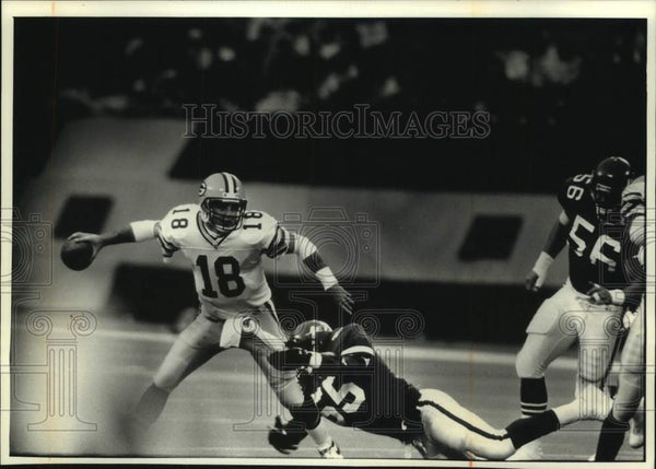 1991 Press Photo Green Bay Packers football's Mike Tomczak completes pass - Historic Images
