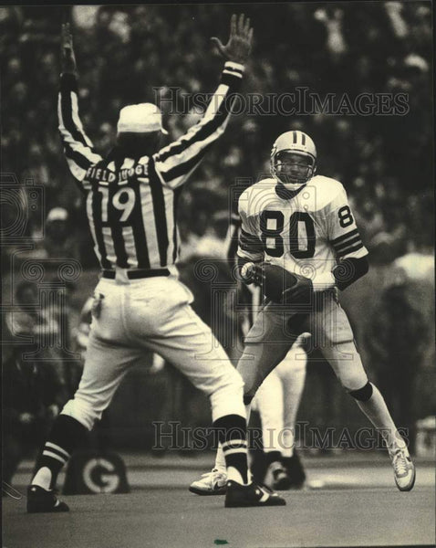 1982 Press Photo Green Bay Packers football's James Lofton scores touchdown - Historic Images