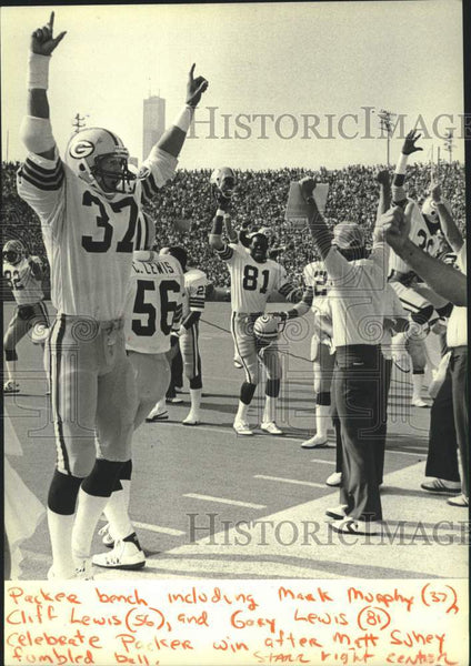 1981 Press Photo Green Bay Packers Bench Celebrate Win After Fumbled Ball - Historic Images
