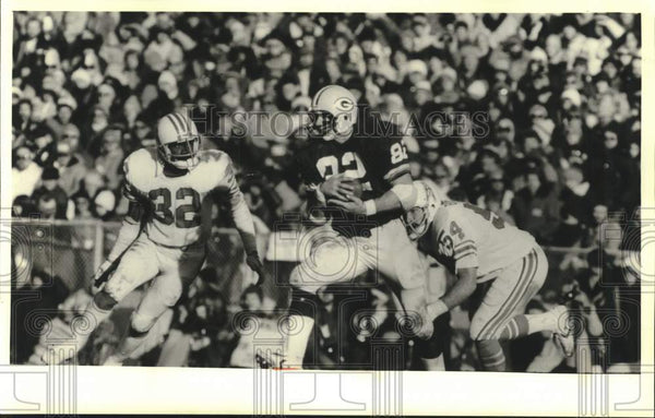 1980 Press Photo Green Bay Packers & Houston Oilers football game, Lambeau Field - Historic Images