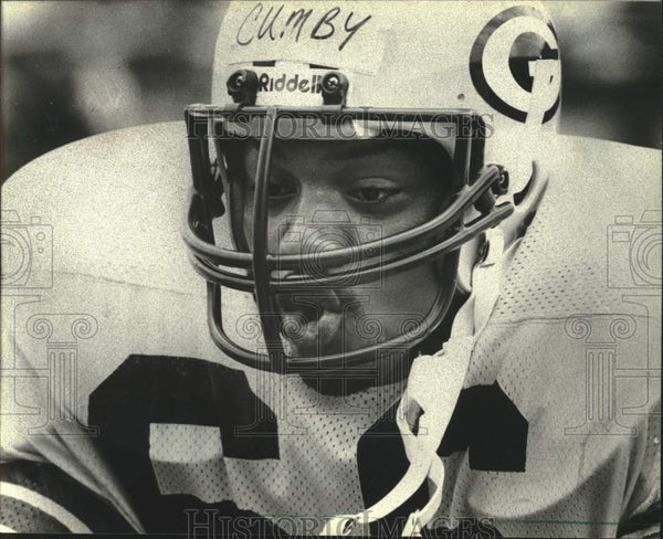 1981 Press Photo George Cumby, Green Bay Packer linebacker during game. - Historic Images