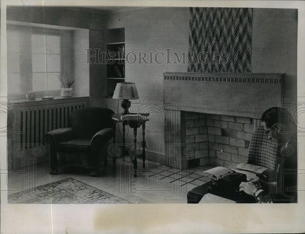 1936 living room of house in Palmer, Alaska - Historic Images