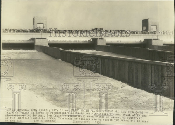 1938 Press Photo All American canal after headgates of Imperial Dam were opened. - Historic Images