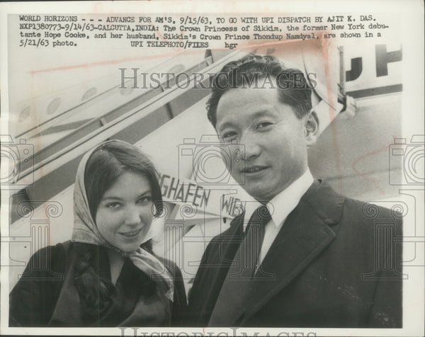 1963 Press Photo Hope Cooke and husband, Crown Princess and Prince of Sikkim. - Historic Images