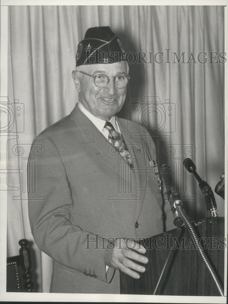 1958 Press Photo Harry S. Truman speaks about the World Wars. - Historic Images